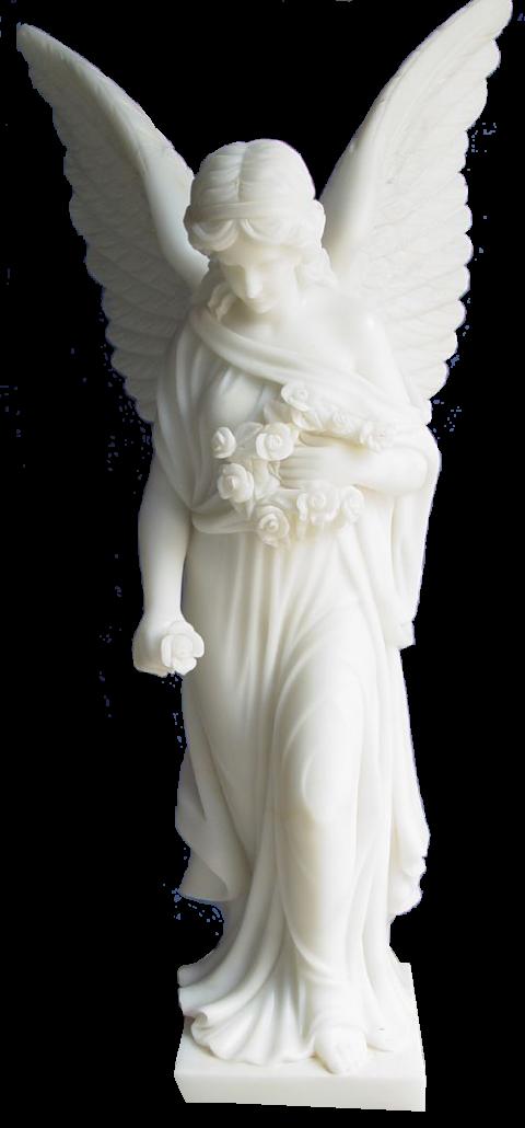 Escultura del Ángel con flores