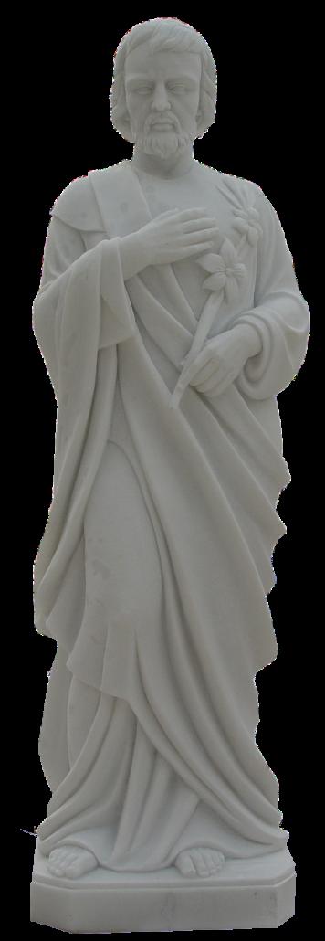 Escultura estatua de San José de Nazaret realizada en mármol blanco pulida a mano